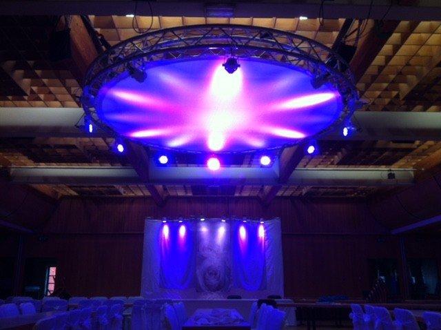 Bühnentechnik Rundbogenbühne Gaze mit Lichteffekten Bühnenbau mieten
